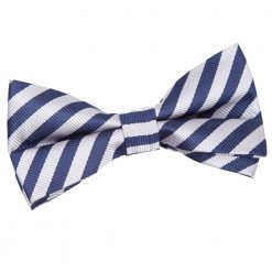 Navy Blue & Silver Thin Stripe Pre-Tied Thistle Bow Tie