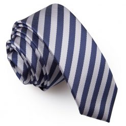 Navy Blue & Silver Thin Stripe Skinny Tie