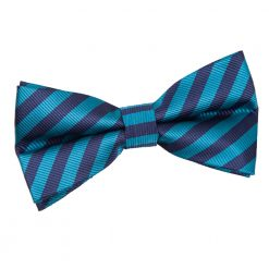 Navy Blue & Teal Thin Stripe Pre-Tied Thistle Bow Tie