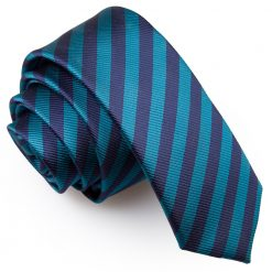 Navy Blue & Teal Thin Stripe Skinny Tie