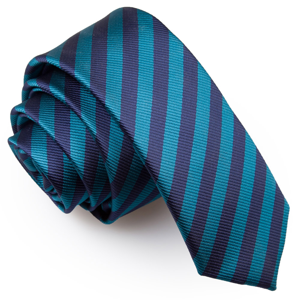 4713a6dc918e Navy Blue & Teal Thin Stripe Skinny Tie - James Alexander
