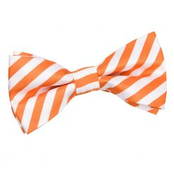 White & Orange Thin Stripe Pre-Tied Thistle Bow Tie