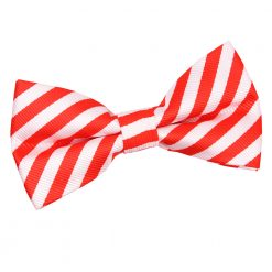 White & Red Thin Stripe Pre-Tied Thistle Bow Tie