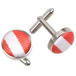 White & Red Thin Stripe Silver Plated Cufflinks