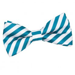 White & Teal Thin Stripe Pre-Tied Thistle Bow Tie