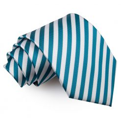 White & Teal Thin Stripe Classic Tie