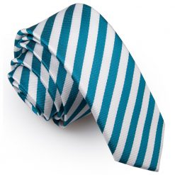 White & Teal Thin Stripe Skinny Tie