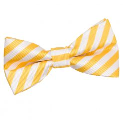 White & Yellow Thin Stripe Pre-Tied Thistle Bow Tie