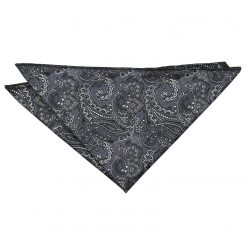 Black & Silver Royal Paisley Handkerchief / Pocket Square