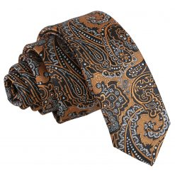 Gold & Silver Royal Paisley Skinny Tie