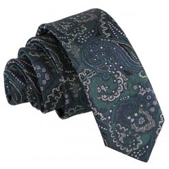 Green & Navy Royal Paisley Skinny Tie