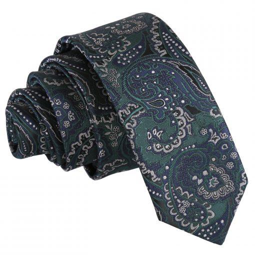 Green & Navy Royal Paisley Skinny Tie