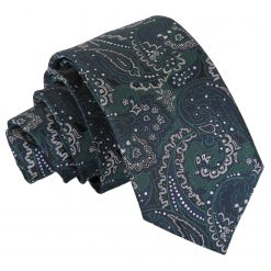 Green & Navy Royal Paisley Slim Tie