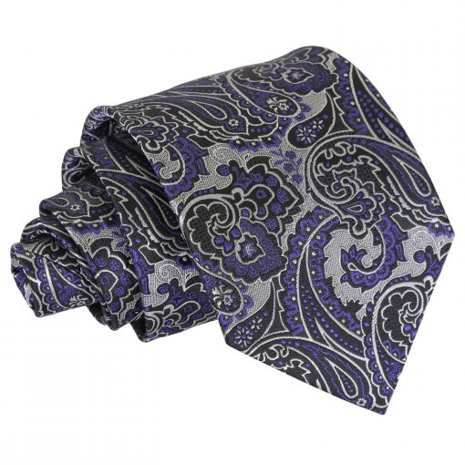 Silver & Purple Royal Paisley Classic Tie