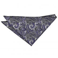 Silver & Purple Royal Paisley Handkerchief / Pocket Square