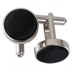 Black Solid Check Silver Plated Cufflinks