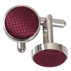 Burgundy Solid Check Silver Plated Cufflinks