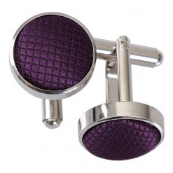 Cadbury Purple Solid Check Silver Plated Cufflinks