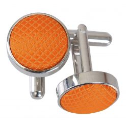 Celosia Orange Solid Check Silver Plated Cufflinks