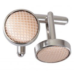 Champagne Solid Check Silver Plated Cufflinks