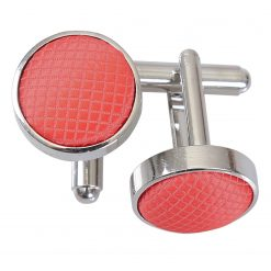 Coral Solid Check Silver Plated Cufflinks