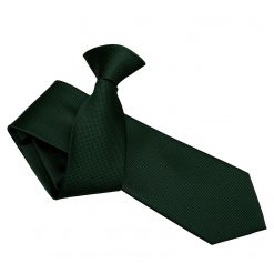 Dark Green Solid Check Clip On Slim Tie