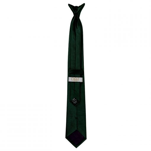 Dark Green Solid Check Clip On Slim Tie
