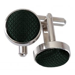 Dark Green Solid Check Silver Plated Cufflinks