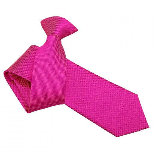 Fuchsia Pink Solid Check Clip On Slim Tie