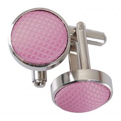 Light Pink Solid Check Silver Plated Cufflinks