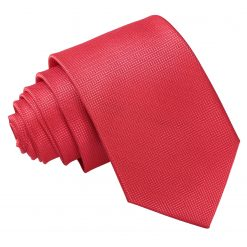 Red Solid Check Slim Tie