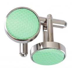 Mint Green Solid Check Silver Plated Cufflinks