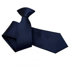 Navy Blue Solid Check Clip On Slim Tie
