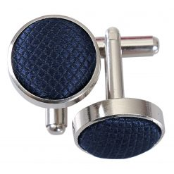 Navy Blue Solid Check Silver Plated Cufflinks