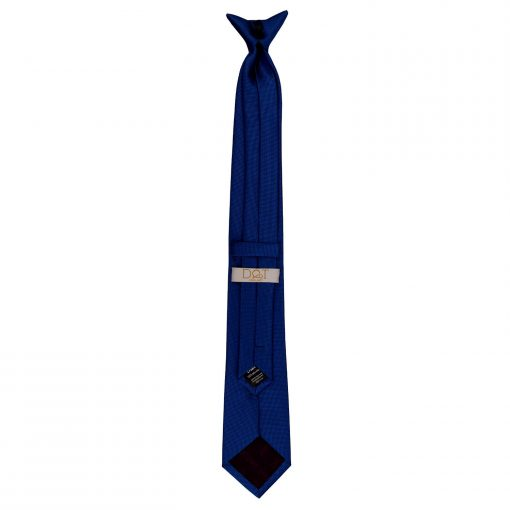 Royal Blue Solid Check Clip On Slim Tie