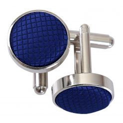 Royal Blue Solid Check Silver Plated Cufflinks