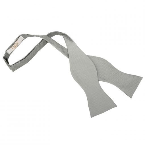 Silver Solid Check Self Tie Thistle Bow Tie