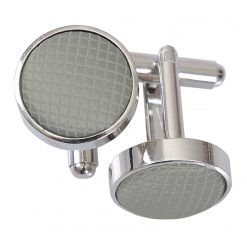 Silver Solid Check Silver Plated Cufflinks