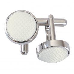 White Solid Check Silver Plated Cufflinks