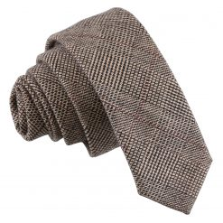 Brown Lattice Wool Skinny Tie