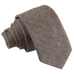 Brown Lattice Wool Slim Tie